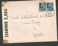 Wwii Pc90 & German Ax censor cover Algeria rue Abdelth Blida to Red Cross Geneva