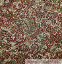 BonEful Fabric FQ Cotton Quilt Gold Red Green Mosaic Tile Flower Paisley Holiday