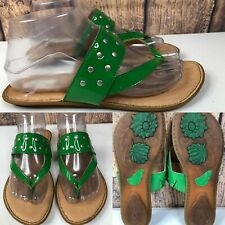Womens BORN Green Patent Leather Silver Studs Thong Flats Sandals SIZE 8 EU 39