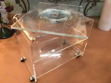 MCM LUCITE SWIVEL TV STAND WITH 2 SHELVES~HEAVY~QUALITY