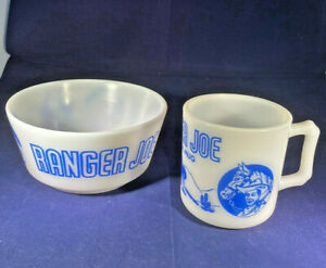 Child's Ranger Joe Ranch Mug Cup Bowl Set Hazel Atlas Milk Glass Blue Design 50s