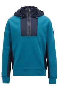 Hugo Boss Hooded sweatshirt in French terry and technical fabric Style Zighter