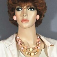 Vtg. Beads 2 Strand Necklace Post Earrings Peach Lucite Tag Signed Glitter Girl