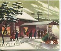 VINTAGE CHRISTMAS TRAIN RAILROAD LOCOMOTIVE CARD & OCEAN CAT KITCHEN POSTCARD