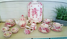 A SPECIAL PLACE Cream with Red Floral and Butterfly Design 17 Piece Tea Set