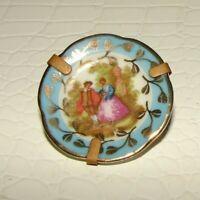Artisanal Limoges France Fragonard Lovers gold Porcelain Miniature dish w/ stand