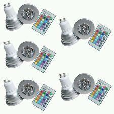 5 FARETTO LED RGB 3 W 220V GU10  MULTICOLOR CROMOTERAPIA CON TELECOMANDO multico