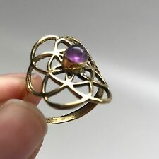 Seed of Life Ring in Brass with Amethyst Stone size 6.5