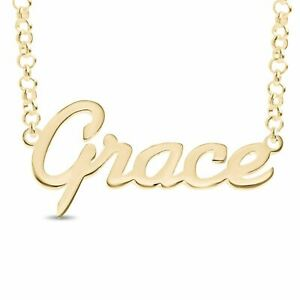 """GRACE Personalised Sterling Silver Name Necklace Gold Plated Nameplate Gift 20"""""""