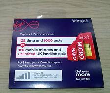 Virgin PAYG Prepaid Tri-Sim Karte Pack - Standard, Micro & Nano Sim Karten