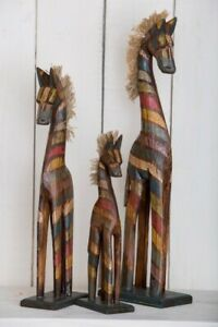 Hand Carved Horses Set Of 3 Sculptures Ornaments Wooden Rainbow Fair Trade Tall