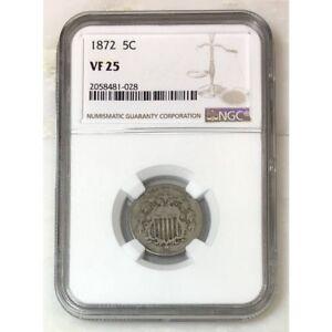 1872 Shield Nickel NGC VF25 *Rev Tye's* #102897