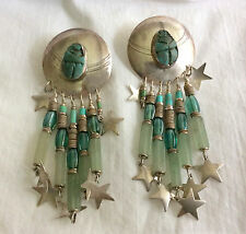 Vintage TABRA Sterling Silver with Turquoise Scarabs & Stones Dangle Earrings