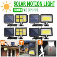 128/100LED Solar Wall Light Motion Sensor IP65 Outdoor Garden Yard Security Lamp