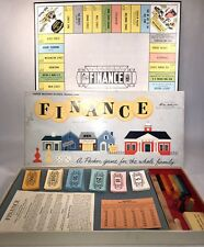 Vintage 1958 FINANCE Parker Brothers BUSINESS TRADING BOARD GAME - Wooden Pieces