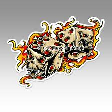 flaming skull dice lucky bones vinyl sticker car laptop gambler 127 x 94mm funny