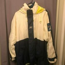 Helly Hansen Sailing Jacket Vintage 90s Yacht Racing Flags Roll Up Hood Size L
