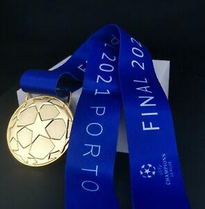 Replica Chelsea Champions of Europe 2021 Porto Football Soccer Gold Medal Ribbon