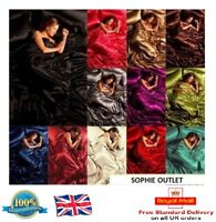 6Pcs Satin Bedding Set Silk Bedroom Duvet Cover Fitted Sheet & 4 x Pillowcases