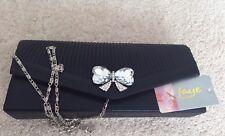 Ladies 'Faye London' Black Embellished Evening Bag - New