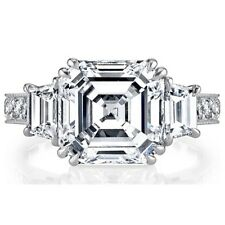 GIA Certified 2.00 CT Asscher Round & Trapezoid Diamond Engagement Ring Platinum