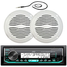 "Marine JVC Bluetooth USB AUX Radio, 5"" White Marine Speakers, Marine Antenna"
