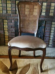 Antique Cane Back Dining Chair With Velvet Brown Cushion With Floweral Accent