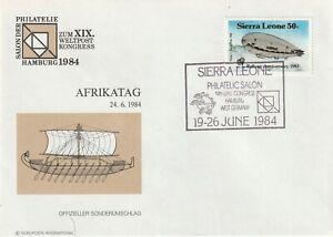 1984 Sierra Leone cover with cancel Africa Day on Philately Salon Hamburg