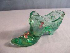 Fenton Green Glass Hand Painted Shoe w/ Raised Rose Design - Purple Flowers 444