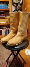 Mens Vintage Distressed Leather Campus Motorcycle Engineer Boots Dingo Size 11 D