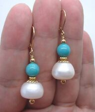 Bold White Fresh Water Pearls W. Green Turquoise Gold Earrings A0827