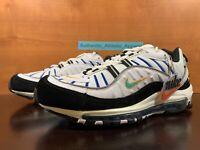 Nike Air Max 98 Premium 'Teal Nebula' White Sneakers Men's Size 9.5 BV0989-102