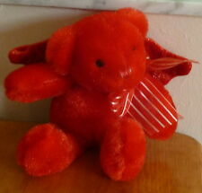 "DAN DEE Collectors Choice PLUSH 9"" Red BEAR with Wings & Red Striped Silver Bow"