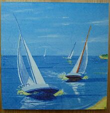 Yachts Ocean Sailing Boats Chic & Shabby Vintage Wooden Picture Plaque Home Art