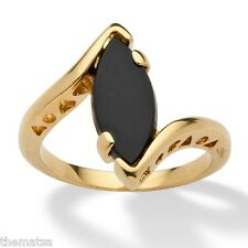 14K GOLD PLATED  LADIES WOMENS BLACK MARQUISE ONYX RING SIZE  5 6 7 8 9 10
