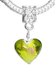 Green Heart Murano Glass Pink Flower Dangle Charm for European Bead Bracelets