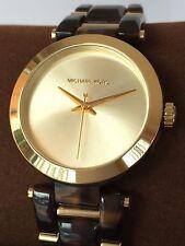 NWT MICHAEL KORS Delray Gold & Brown Tortoise 36mm Quartz Watch MK4314 $250