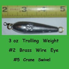 5  -  3 oz  Inline Trolling  lead weight fishing Sinkers with  #5  Crane  Swivel