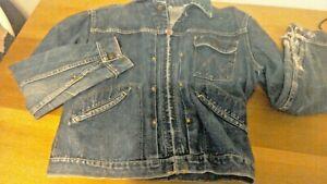Vintage Blue Bell Wrangler Sanforized Denim Pleated Jacket Scovill Zipper sz 40