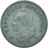 COIN / ARGENTINA / 10 CENTAVOS 1908  #WT17445