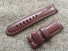 Genuine Officine Panerai Leather strap band 24mm Burgundy Red Brown Oxblood