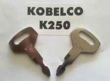 (2) Kobelco Excavator, Heavy Equipment Keys OEM Logo K250 fit Case, Kawasaki,.