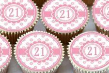 Decoración toppers para tartas/cupcakes color principal rosa para tartas de fiesta