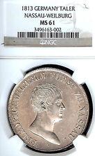 German States Nassau-Weilburg 1813 Taler Coin Thaler NGC MS 61 F.Stg Deutschland