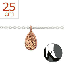 Plated Drop 22cm Expandable to 25cm Tjs 925 Sterling Silver Anklet Rose Gold