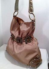 Kathy Van Zeeland Gold Studded Embellished Jeweled Crocodile Patent Shoulder Bag