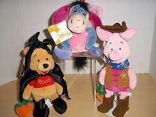 3 Disney Store Mini Pooh Halloween Mini Bean Bag Plush Witch - Cowboy -Butterfly