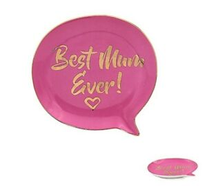 """Best Mum Ever"" Trinket Jewellery Dish -Pink and Gold - perfect for your Mum!"
