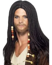 Mens Pirate Fancy Dress Wig Black with Beads New by Smiffys