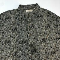 Caribbean Button Up Shirt Men's XL Short Sleeve Black Tan Tropical Print Rayon
